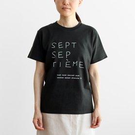 Tシャツ sept septième 鉛筆文字 ブラック