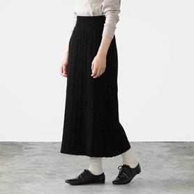 エクストラファインウールプリーツスカート ブラック