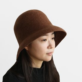 MKF-24131 widen bell hat lamb ブラウン