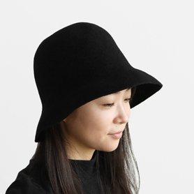 MKF-24131 widen bell hat lamb ブラック