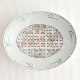 錦花地紋 楕円鉢