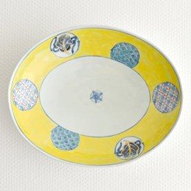 染錦黄濃丸紋 楕円鉢