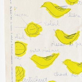 テーブルクロス 210×110 鳥と太陽とアーティチョーク柄[50%OFF]