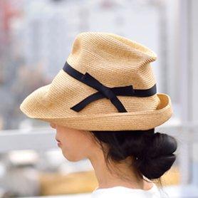 BOXED HAT 101 ミックスブラウン×ブラックリボン