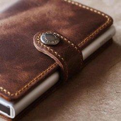 SECRID  Vintage wallet シークリッド ヴィンテージレザー ウォレット スナップ付き(チョコレート)