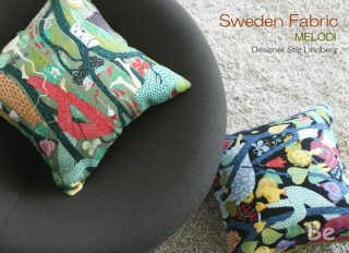 北欧スウェーデンの生地で作られたクッションカバー スティグリンドベリ デザインの MELODI