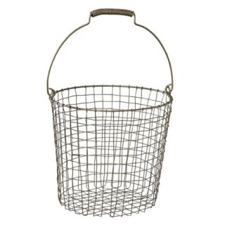 SLOW WIRE HANDLE BASKET ROUND Sサイズ