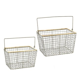 SLOW WIRE HANDLE BASKET RECT 2サイズセット