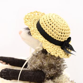 麦わら帽子 エレガントリボン ベージュ