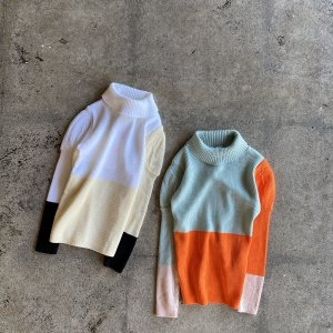 <img class='new_mark_img1' src='https://img.shop-pro.jp/img/new/icons14.gif' style='border:none;display:inline;margin:0px;padding:0px;width:auto;' />MULTI COLOR SWELL SHOULDER HIGH-NECK KNIT  / フランキーグロウ(FRANKY GROW )2020AW