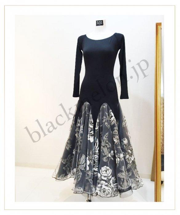 7090d6e6aac0e 社交ダンスドレス・衣装店《原宿ブラックメロン》グレー花柄オーガンジー ...