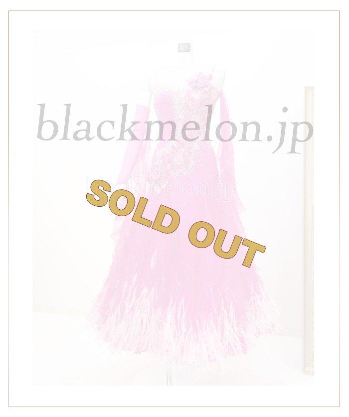 ピンク刺繍立体フラワー+オーストリッチドレス☆クリスアンクローバー・社交ダンス・競技ドレス・ボールル…