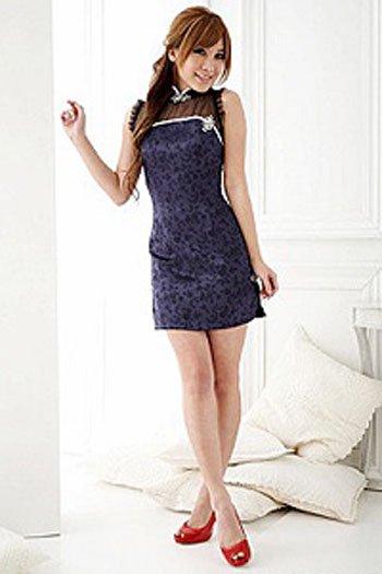 チャイナドレス ブルー セクシー スプレ 衣装  2098