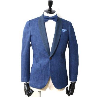 ショールカラー デニムスーツ<br>【BIREI】(BLUE)スーツ<br>バイオストーンデニム