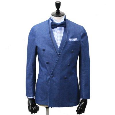 9ozノーカラーダブルブレストデニムスーツ<br>【Mary】(BLUE)スーツ<br>