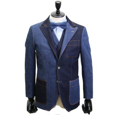 デニムスーツ<br>【AMIRA CRAZY】(NAVY×BLUE)スーツ<br>11oz 本藍デニム×セルヴィッチストレッチデニム使用
