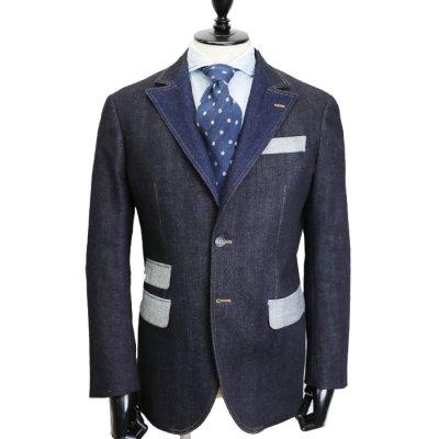 デニムスーツ<br>【SLON】(NAVY)スーツ<br>11oz セルヴィッチ ストレッチデニム コンビデニムスーツ
