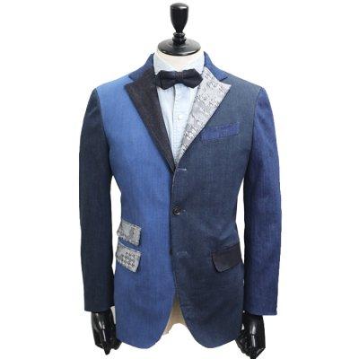デニムスーツ<br>【SUPER CRAZY】(NAVY×BLUE)コンビデニムスーツ<br>7〜10oz 本藍デニム×セルヴィッチストレッチデニム使用