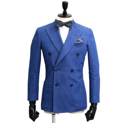 ダブルブレスト デニムスーツ<br>【YUEN】(BLUE)スーツ 7oz