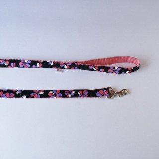 オリジナルリード  花柄 黒×ピンク