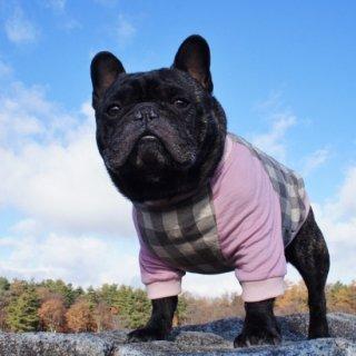 【完成品・即発送】チェック柄のラグランTシャツ グレー×ピンク