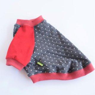 赤と夜空のラグランTシャツ ダークグレー×赤