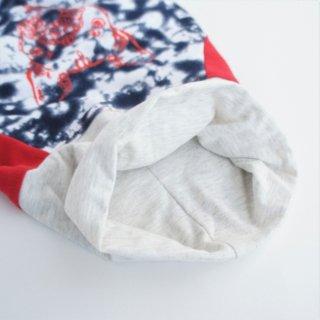 【完成品・即発送】JUNBULLぼかし模様×赤 伝七プリントのハイネックTシャツ