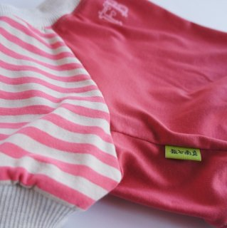 【完成品・即発送】ちびラーナくんプリントのラグランTシャツ ピンク×ボーダー