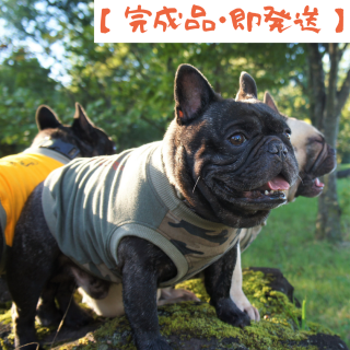 【完成品・即発送】タンクトップ/JUNBULL/迷彩柄+カーキ/伝七プリント オレンジプリント