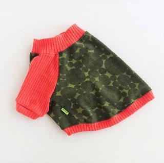 【セミオーダー】ラグランTシャツ/ドット/グリーン×オレンジ/レトロな気分のラグラン