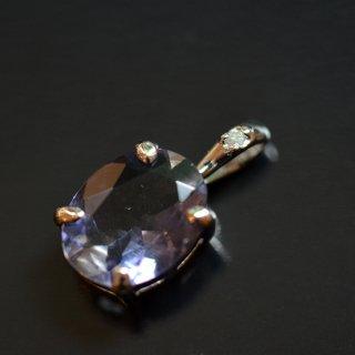 【SILVER925】アイオライト(インド産)※ダイヤモンド付き/国産加工ペンダントトップ
