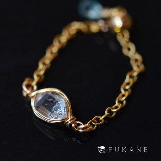 【一点もの】原石14KGFワイヤーラップチェーンリング/ハーキマーダイヤモンド(ニューヨーク産)
