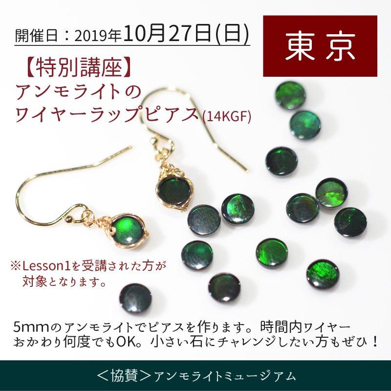 10月27日(日) 【東京】[特別講座]アンモライトのワイヤーラップピアス (14KGF)