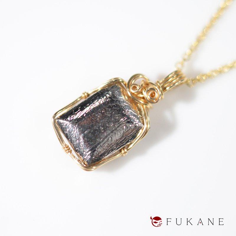 ギベオン隕石(アフリカ・ナミビア産)/14KGFワイヤーラップペンダント