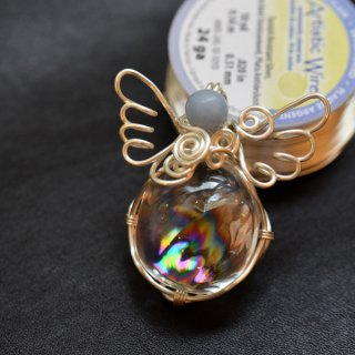 【オーダー(持込)】ワイヤーラッピング・天使のレインボー水晶/沖縄県H様