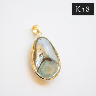 【K18】国産加工ペンダントトップ/グリーンファントム(ブラジル産)