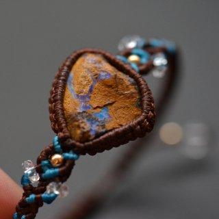 【一点もの】原石マクラメブレスレット/ボルダーオパール(オーストラリア産)