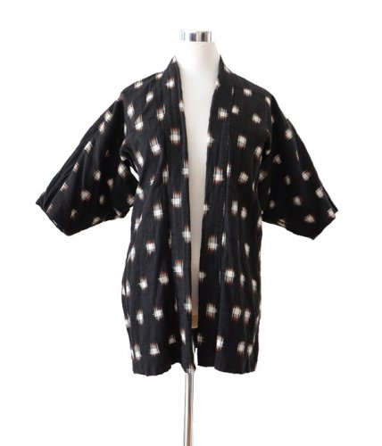 羽織 着物 黒 絣 ジャパンヴィンテージ 50年代 アンティーク A22