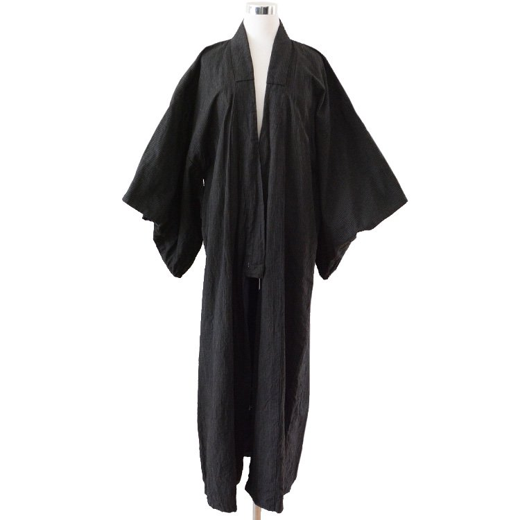 着物 縞柄 黒 長着 ジャパンヴィンテージ 40〜50年代 | Kimono Japan Vintage Black Stripe 40〜50s