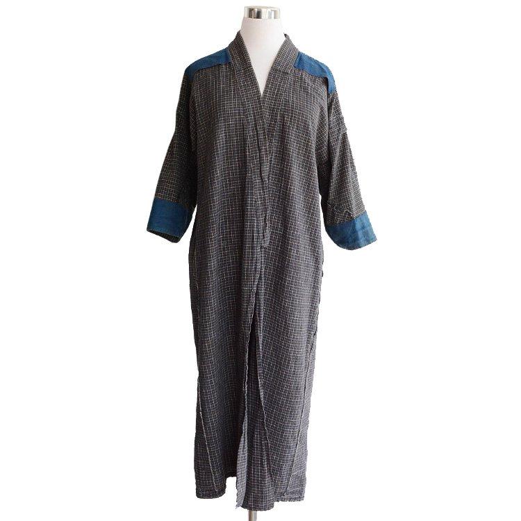 野良着 藍染生地 格子 ジャパンヴィンテージ 長着 コート 30年代 | Noragi Jacket Indigo Fabric Japan Vintage 30s Kimono Coat