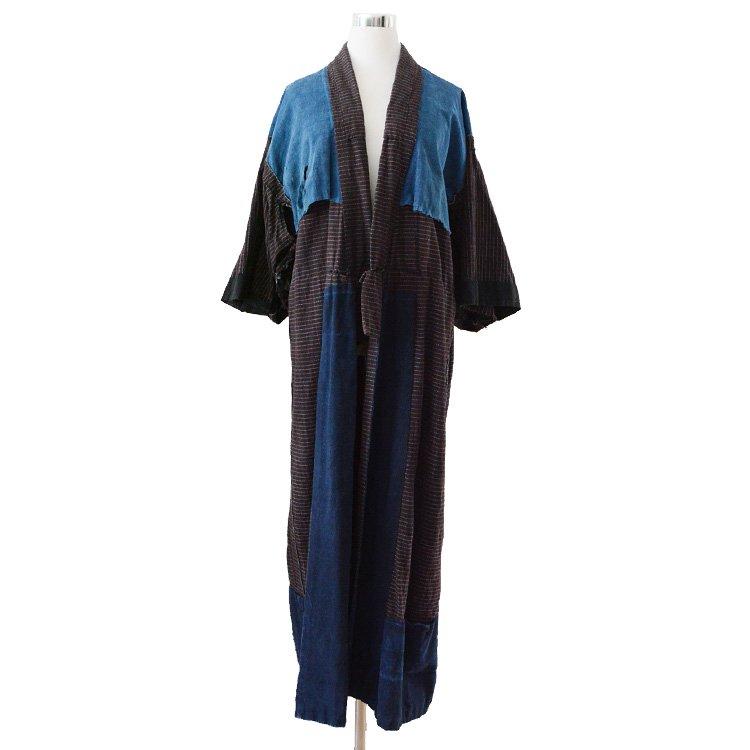 野良着 藍染布 着物 格子 長着 ジャパンヴィンテージ 30年代 | Noragi Jacket Indigo Cloth Check Kimono Coat Japan Vintage 30s