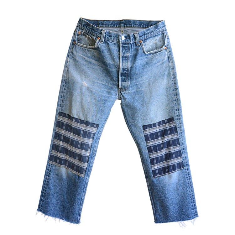501 リーバイス ヴィンテージ デニム パンツ 古布 当て布 リペア | Japanese Fabric Repair Levi's Vintage Jeans 【REN】