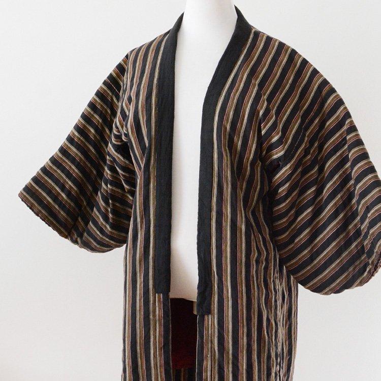 綿入れ半纏 着物 縞模様 ジャパンヴィンテージ 40〜50年代   Hanten Jacket Warm Padded Kimono Japan Vintage 40〜50s