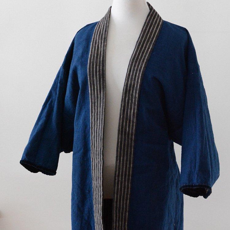 野良着 藍染 古着 着物 ジャケット ジャパンヴィンテージ 30年代   Noragi Jacket Indigo Kimono Aizome Stripe Japan Vintage 30s