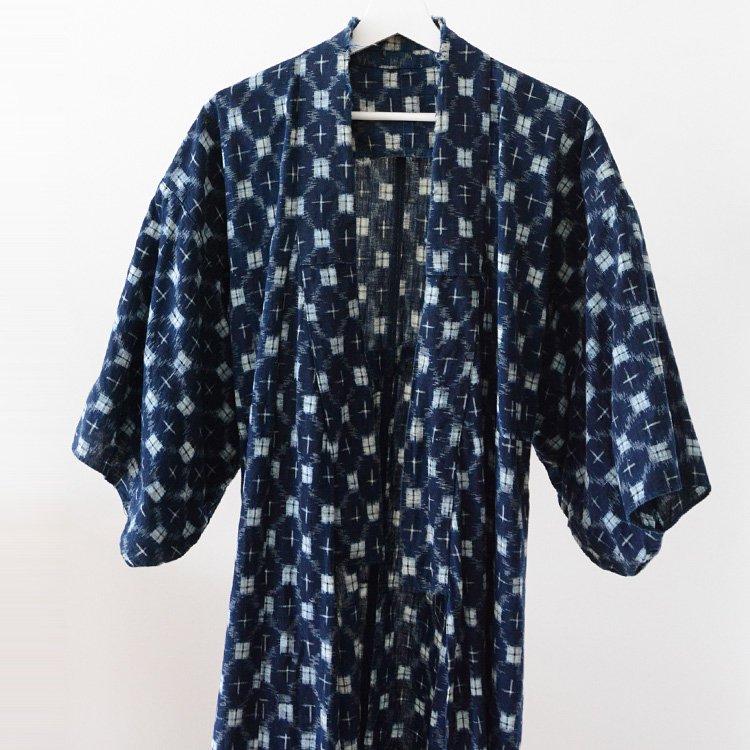 野良着 藍染 絣 木綿 着物 ジャパンヴィンテージ 30年代   Noragi Jacket Indigo Kimono Kasuri Aizome Fabric Japan Vintage 30s
