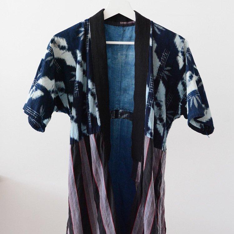 野良着 藍染 絣 縞模様 2トーン ジャパンヴィンテージ 30〜40年代   Noragi Jacket Indigo Kasuri Stripe Kimono Japan Vintage