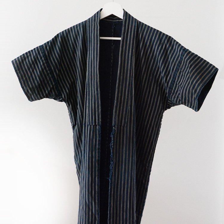 野良着 藍染 襤褸 つぎはぎ 縞模様 ジャパンヴィンテージ 明治 大正 | Noragi jacket Indigo Kimono Boro Stripe Japan Vintage