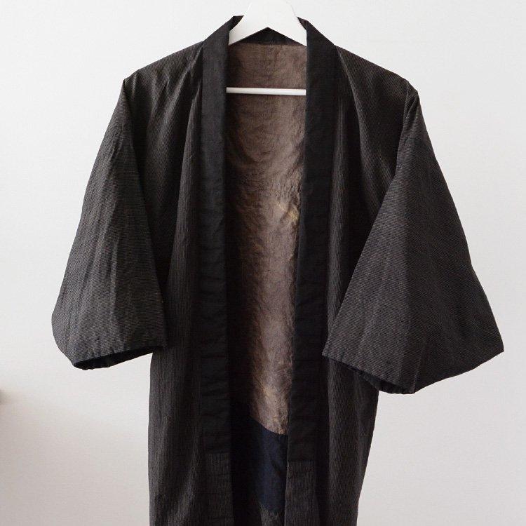 藍染 着物 襤褸 縞模様 ジャパンヴィンテージ 羽織 野良着風   Indigo Kimono Boro Stripe Haori Noragi Style Japan Vintage