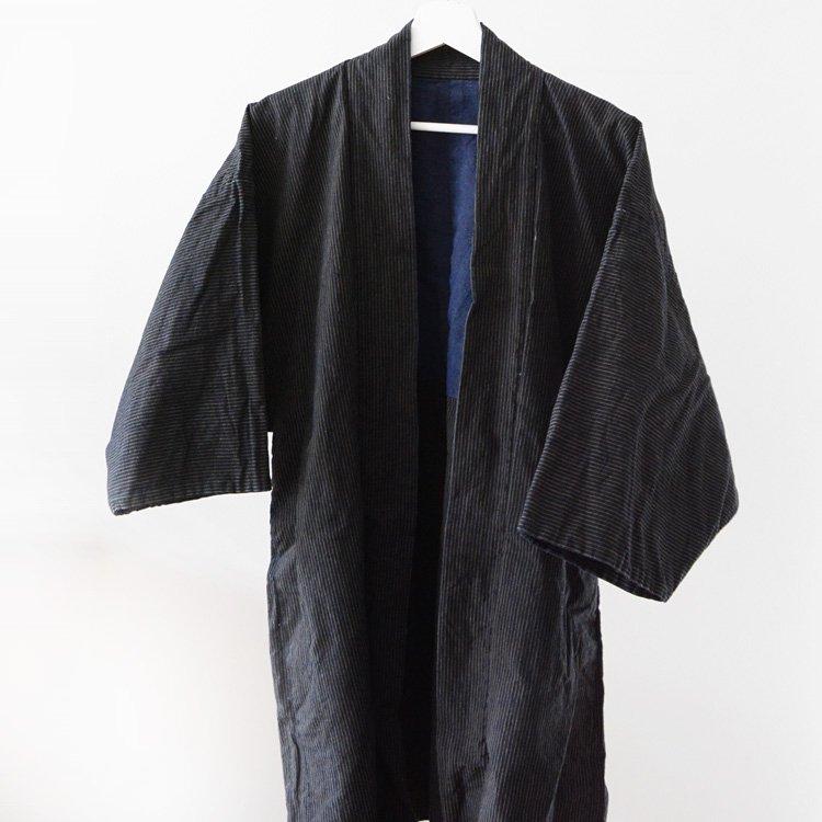 野良着 藍染 縞模様 羽織 着物 ジャパンヴィンテージ 30年代   Noragi Jacket Aizome Stripe Haori Kimono Japan Vintage 30s