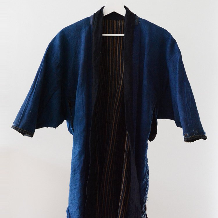 Noragi Jacket Boro Indigo Kimono Aizome Stripe Japan Vintage 30s | 野良着 藍染 襤褸 ジャパンヴィンテージ 30年代